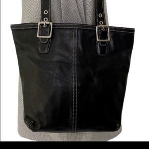 Coach Hampton black leather tote bag, E33-9572